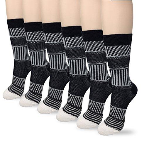 Eedor Men's Cotton 6 Pack Premium Patterned Classics Flat Dress Crew Socks