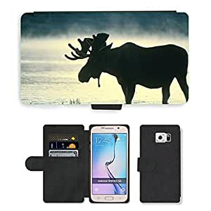 Super Stella Cell Phone Card Slot PU Leather Wallet Case // M00105263 Moose Bull Silhouette Wading Water // Samsung Galaxy S6 (Not Fits S6 EDGE)