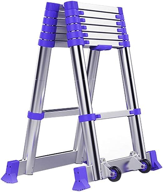 LJSJT Escalera Telescópica Escalera Tipo A Marco de aleación de Aluminio Polea móvil Peso del rodamiento 150kg Escalera de 7 escalones Altura 2.05m: Amazon.es: Hogar
