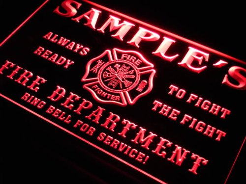 qy235-r Christian's Fire Fighter Department Firemen Bar Neon Light Sign