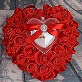 bgblgf M Wedding Ring Pillow Cushion Bride Rose Marry Ring Pillow, Red, 1716cm