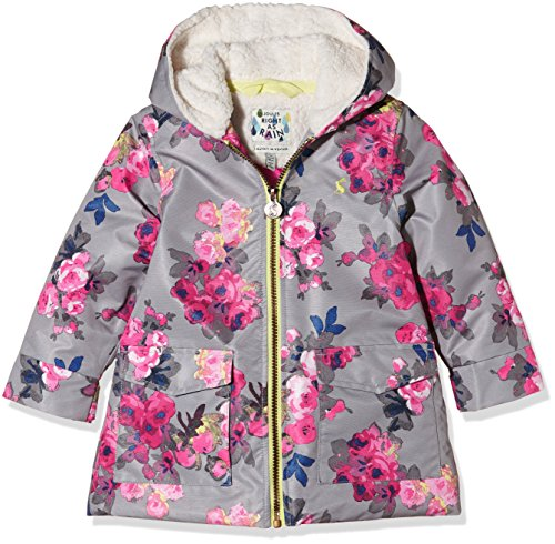 Joules Little Girls' Raindrop Waterproof Fleece Lined Coat, Grey Bloom, 6
