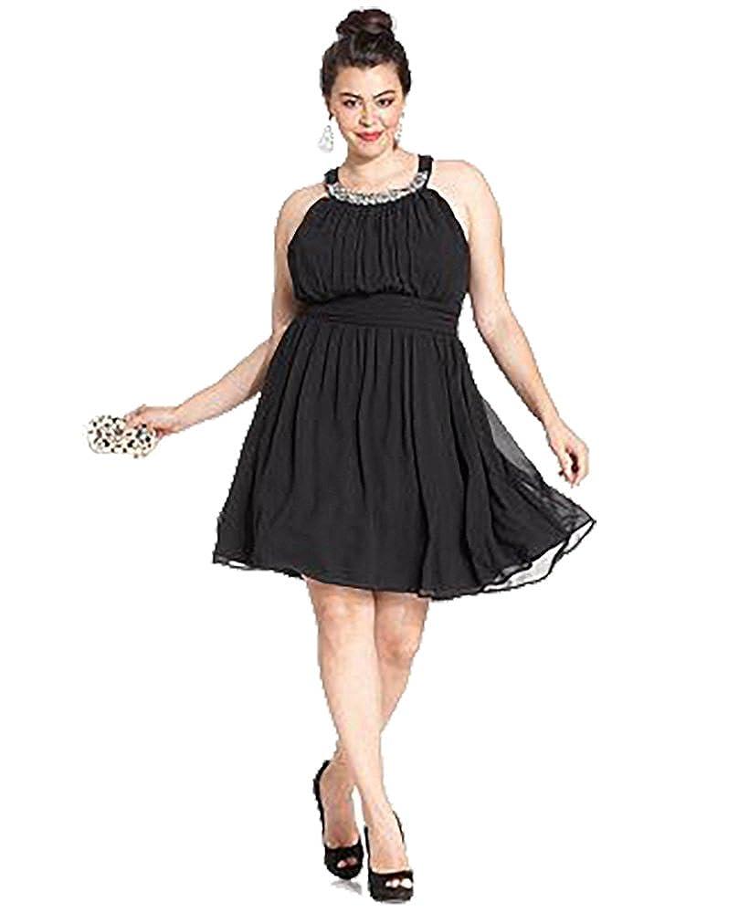 Amazon.com: Trixxi Plus Size Halter Cutout-Back A-Line Dress ...