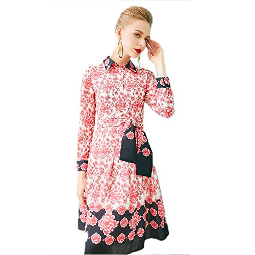 Women`s Cotylédons Imprimé Une Ligne Robes Col Revers Manches Longues Taille Haute Robe Courte