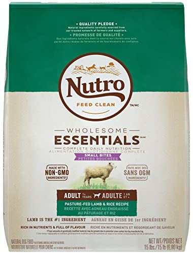 Nutro Core Dry Dog Company Adult Small Bites Limited Ingredient Diet Dog Food with Lamb and Whole Brown Rice Formula, 15 Pound