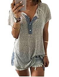 Clearance Women Loose Short Sleeve Button Tops Casual Blouse Henley Tunic Shirts