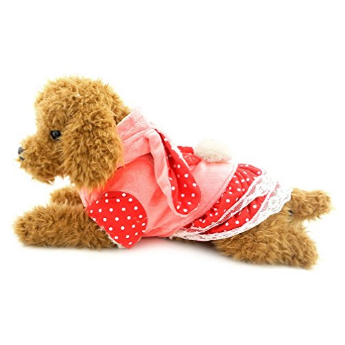 [Ranphy Small Dog Overall Outfit Pet Strawberry Clothes for Girls Pleated Puppy Princess Lace Cat Dress Bunny Costume Hoodie Pink] (Cat In Bunny Costume)