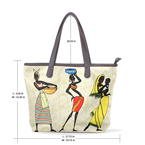 Multicolor 40x29x9 Hombro Ética Africana Coosun Grandes Cm 003 Mano La Pu De Cuero Asas Mujer Mango Bolsa M q6ga6