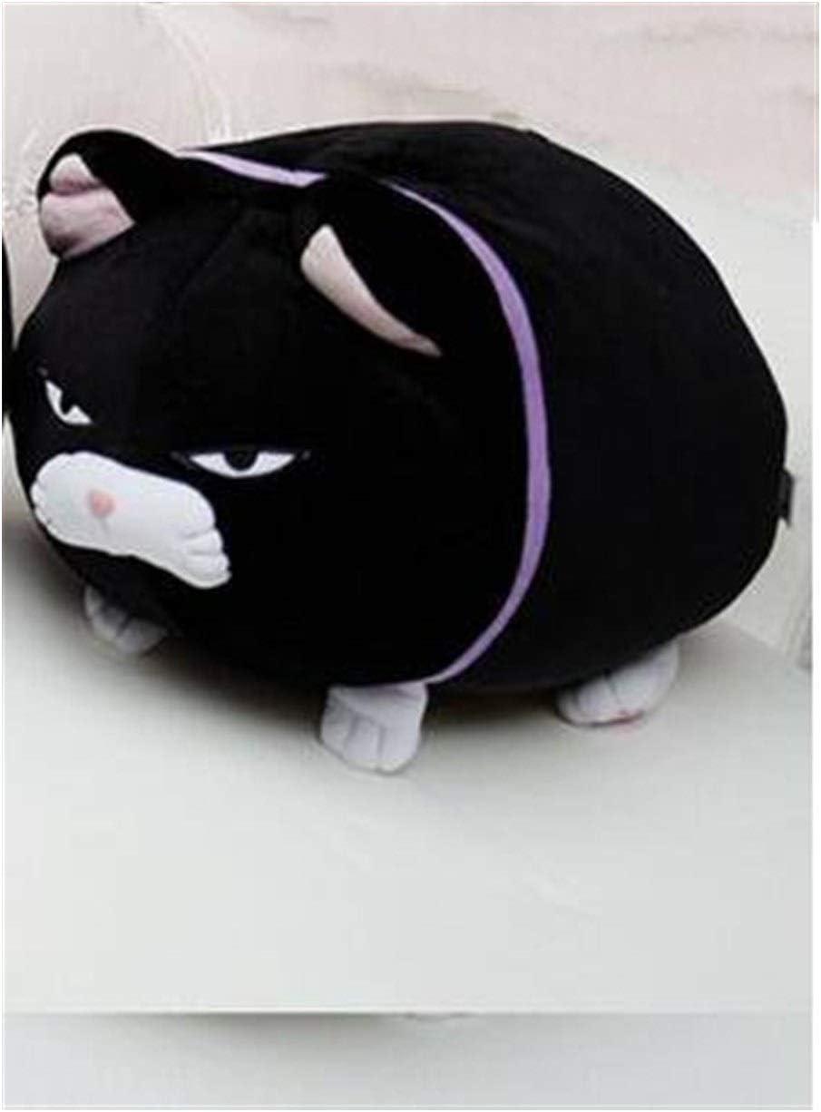 Juguete suave creativa Almohada Barba azada del gato de peluche de juguete divertido Bendición Almohada Niño portátil Cojín juguetes rellenos Decoración Almohada suave ( Color : Black , Size : 40cm )