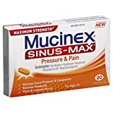 Mucinex Sinus-Max Pressure and Pain Caplets, 20 Count  (Pack of 12)