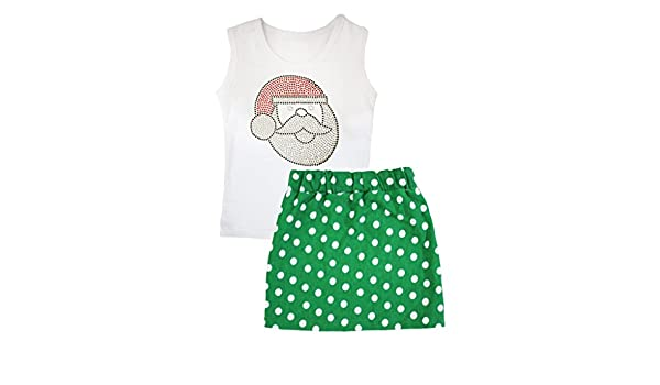 Petitebella Xmas Bling Santa Claus White Vest Polka Dots Green Skirt Set 1-8y
