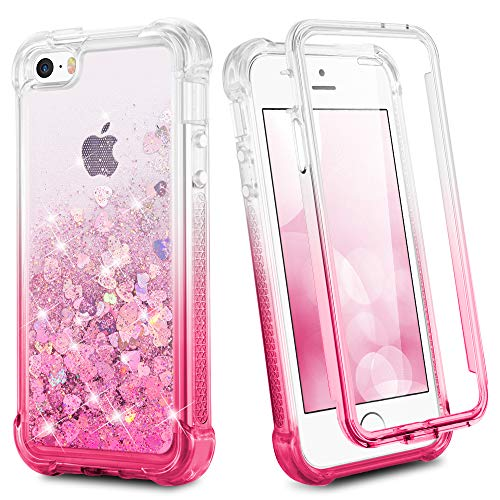 Ruky iPhone 5 5S SE Case, iPhone SE Full Body Case with Built in Screen Protector Shockproof Protective Glitter Liquid Floating Girls Phone Case for iPhone 5 5S SE (Gradient Pink) (Pink Screen Protector 5s)