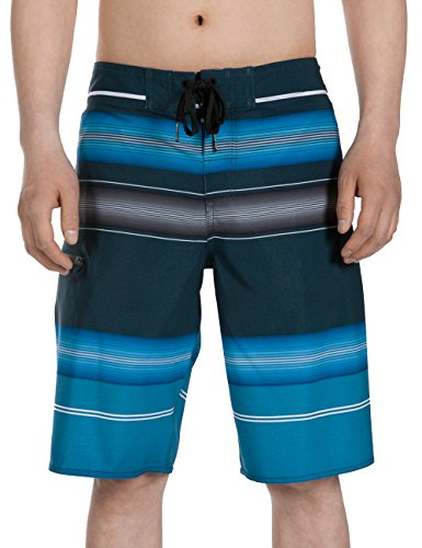 SURF CUZ Men's Board Short Stripe Beach Short 4-Way Stretch Swim Short 76navy ()