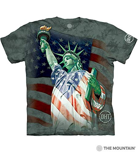 The Mountain Defending Liberty Adult T-Shirt, Green, 3XL