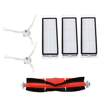 6 unidades Aspiradora accesorios para Xiaomi Mi Robot filtro lado Pincel Cepillo Principal: Amazon.es: Hogar