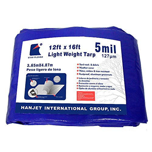 (Waterproof Reinforced Tarpaulin Medium Duty 5mils Blue 12X16 Feet Star Plover Durable Multi-Purpose Tarps for Roof)