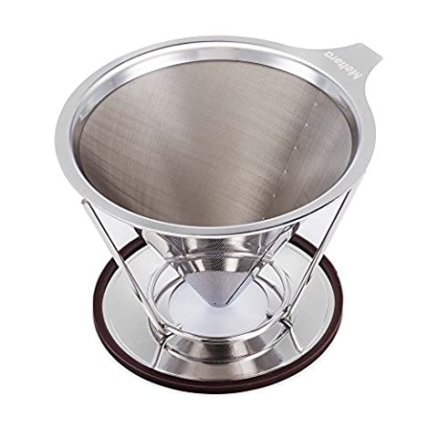 Single Cup Coffee Maker by Meltera, Pour Over Coffee Filter for Best Brew, Stainless Steel & Reusable Cone Dripper with Removable Stand, 100% Paperless & Eco-Friendly, Works With (9 Dj Rack)