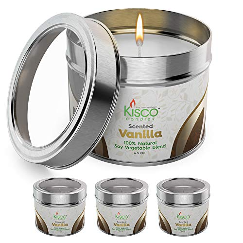 KISCO CANDLES Luxury Lightly Scented Candles, 4 Pack – 100% Natural Soy Wax – Beautiful Gift Set Tins – Soothing, Relaxing Vanilla Fragrance - Aromatherapy, Decoration, Parties - 4.5oz
