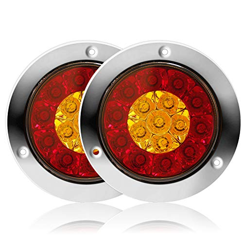 Round LED Truck Trailer Amber/Red Taillights with Stainless Steel Rings 16 LED DC 12V Waterproof Stop Brake Running Turn Signal Lights Tail Lamps for RV Trailer (2 Pcs Red/Amber)