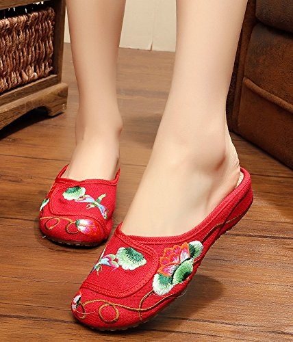 Avacostume Femmes Lotus Broderie Appartements Bout Rond Slip Sur Chaussons Rouge