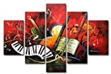 Zartsy 100% Hand Painted Abstract Landscape The Red Music Score Artwork Home Wall Decor Art Oil Paintings on Canvas with Stretched Wood Frame Large Oversized
