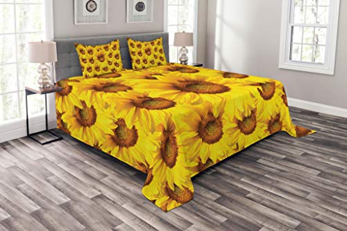 Bouquet Quilt Set - Lunarable Sunflower Bedspread Set King Size, Sunflower Bouquet Flourishing Botany Morning Vibrant Color Picture Print, Decorative Quilted 3 Piece Coverlet Set with 2 Pillow Shams, Mustard Yellow