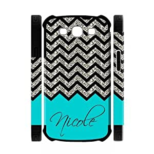 Black Grey Chevron & Turquoise Pattern (NOT ACTUAL GLITTER) Personalized Custom Samsung Galaxy S3 i9300 Best Soft Rubber & Plastic Two-in-one Case