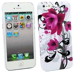 Kit Me Out ES ® Carcasa rígida + Protector de pantalla con gamuza de microfibra para Apple iPhone 5/5G - Flores moradas