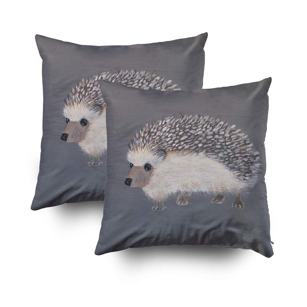 Shorping Zippered Pillow Covers Pillowcases 18X18Inch 2 Pack hedgehog Decorative Throw Pillow Cover Pillow Cases Cushion Cover Home Sofa Bedding