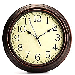 Wall Clock 12-Inch Round Classic Clock Retro Non Ticking Quartz Decorative Simple Fashion Easy to Read The Silent Sweep Means None of That Annoying Ticking!