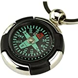 Ezyoutdoor Magnetic navigation Baseplate Compass with keychain Multifunction Military Brass Army Metal Sighting High Accuracy Waterproof Camping Emergency for Hiking Camping Night Fishing