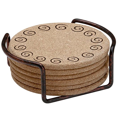 Swirl Drink Coasters (Thirstystone Swirls with Holder Included Cork Gift Set)