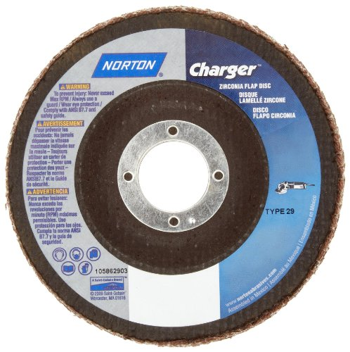 "UPC 662611192828, Norton Charger R822 High Performance Abrasive Flap Disc, Type 29, Round Hole, Fiberglass Backing, Zirconia Alumina, 7"" Dia., 36 Grit (Pack of 1)"