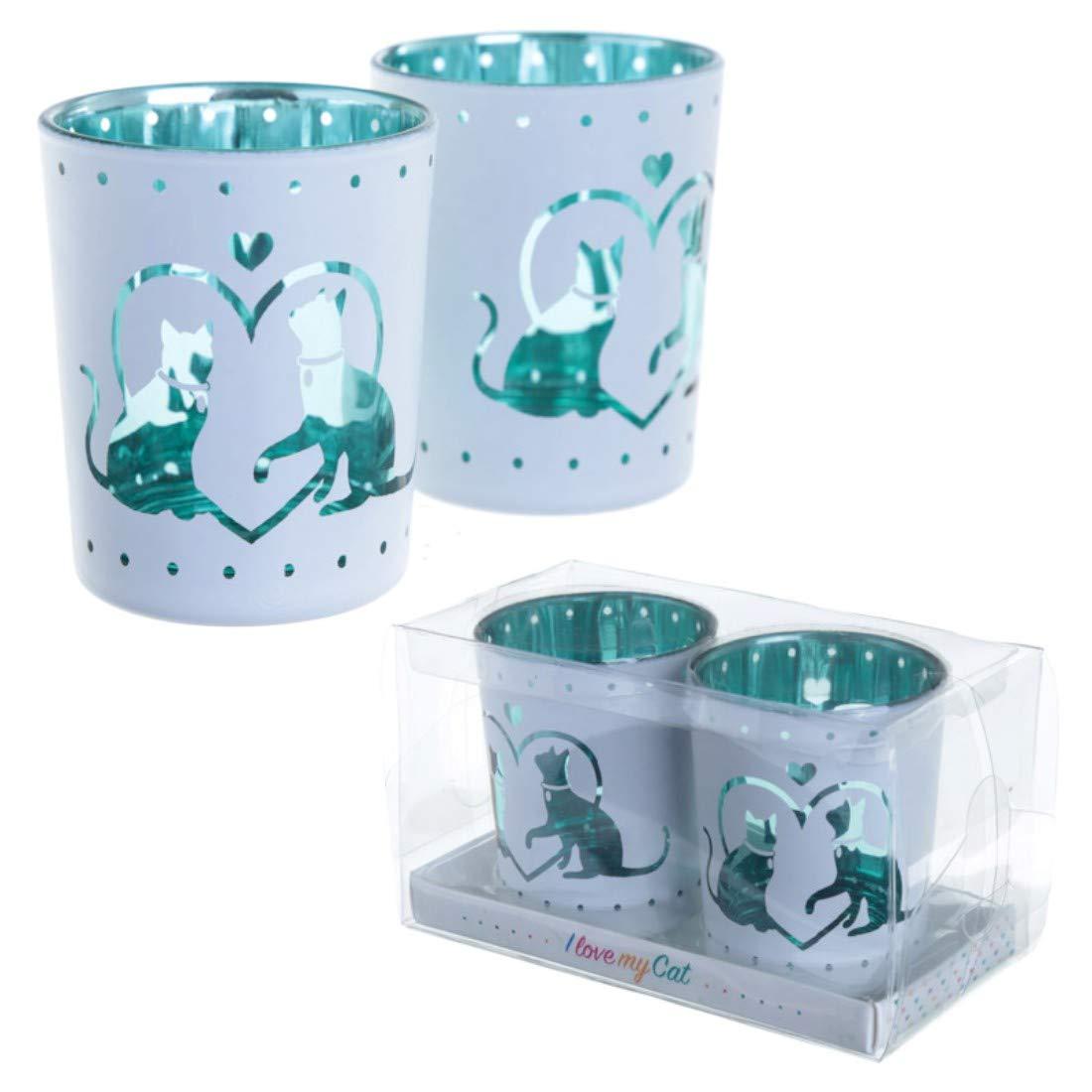 Portacandela in vetro a bicchiere, design con gatti, set da 2 Puckator