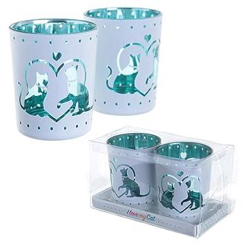 Portavelas de cristal en vaso, diseño con gatos, juego de 2 unidades: Amazon.es: Hogar
