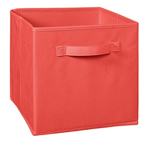 Coral Color Cube Foldable Storage Basket Bins Organizer Box Closet Container Fabric Drawers
