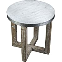 Burnham Home 17226 Murray Side Table, White Wash, Zinc Top