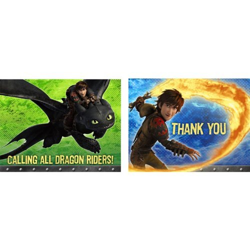 Hallmark How to Train Your Dragon Invitation & Thank You (8 Pack)]()