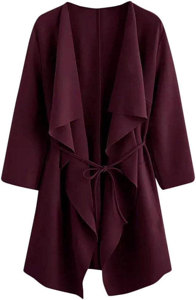 Abrigos Mujer Invierno Largos Chaquetas de Talla Grande con Cremallera Cardigan con Cordón cinturón Moda Color sólido jerséis Gusspower