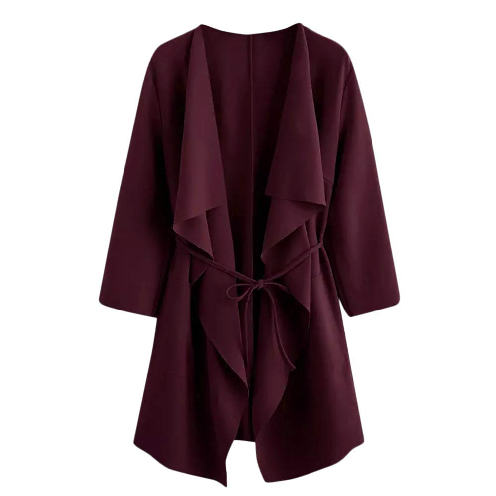 ♥ETHELDING♥ Trench Coats, Women Autumn Waterfall Collar Pocket Jacket Outwear