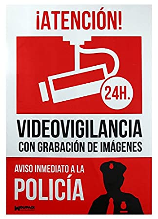 Wolfpack 15050921 Cartel Alarma Conectada Aviso A Policía, 30 x 21 cm