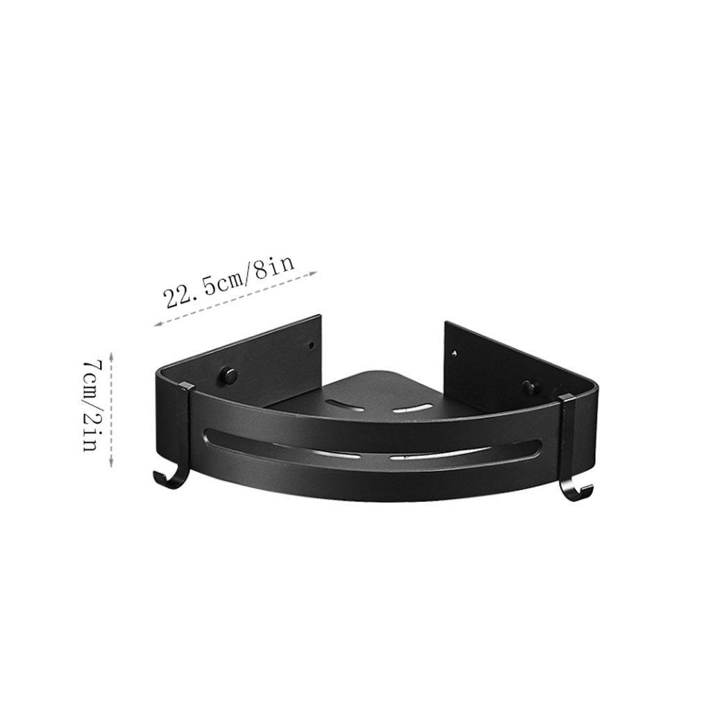 YXN Space Aluminum Bathroom Corner Rack Bathroom Hardware Accessories Single-layer Cosmetics Tripod Black Shelf Storage Rack (Size : Single floor)