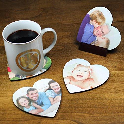 - Custom Heart Shaped Coaster Set with Personalized Image Photo