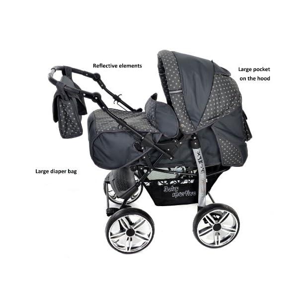 Sistema de viaje 3 en 1, negro, lunares Sportive X2 RUEDAS GIRATORIAS y accesorios Sistema de viaje 3 en 1 carrito con capazo y silla de coche silla de paseo