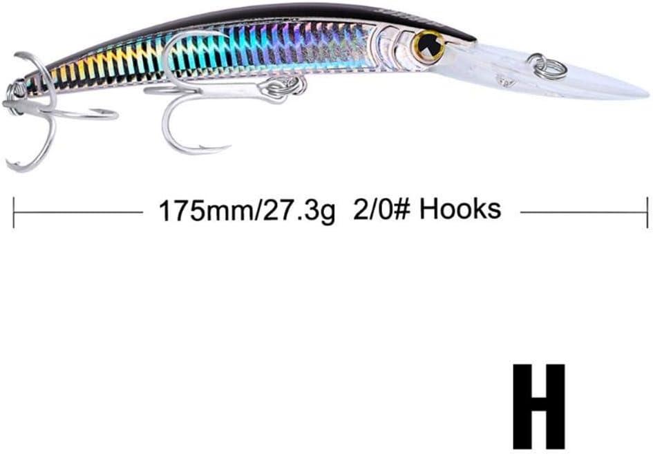 qkdop 1Pcs 17Cm 27G Big Flotante Minnow Laser se/ñuelos de Pesca Hard Crankbait Wobbler con Agudos Ganchos Bajos