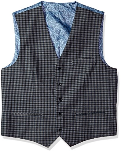 Alexander Julian Colours Mens Big and Tall Big & Tall Modern Fit Check Suit Separate Vest