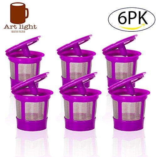 6 Pack Keurig Coffee Filter Reusable K Cups, Replacement for Keurig 2.0 and Classic 1.0 & Works with Keurig Machines and Other Single Cup BrewersFits Keurig K55 K200 K250 K300 K350 K400 K450 K460 K
