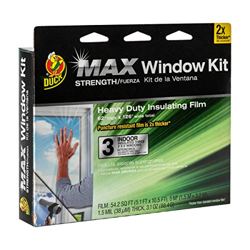 (Duck MAX Strength Heavy Duty Insulating Film Window Kit, 3-Window, 62-Inch x 126-Inch, Indoor, 284351)
