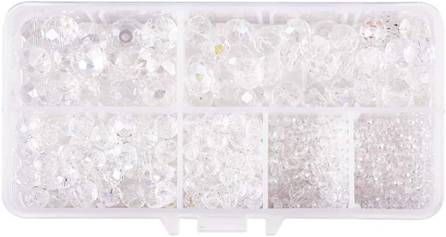 PandaHall Aprox. 910 Unidades/Caja de Perlas de Cristal Transparentes, Chapado facetado Abacus Claro Color AB Chapado de 3/4/6/8/10/12 mm para Pulseras, Collares, bisutería y Manualidades