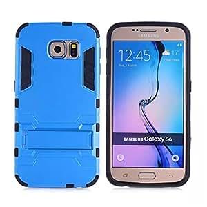 Galaxy S6 Funda,S6 Funda,Gift_Source [Dual Layer Design] 2 in 1 Shockproof Hybrid Soft TPU Inner Skin and Hard PC Rugged Protective Funda Con Built-in Kickstand para Samsung Galaxy S6 [Blue]